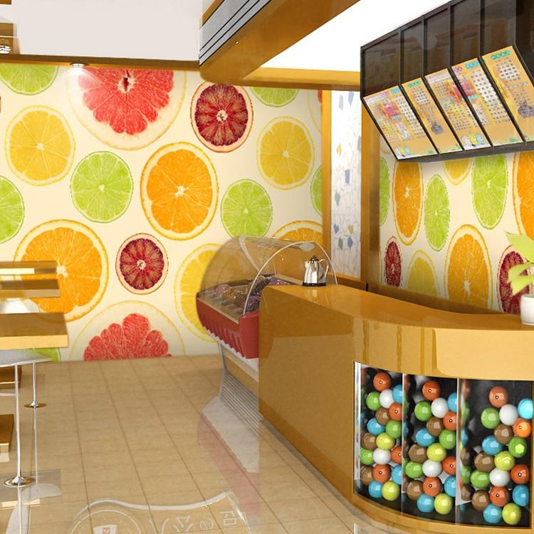 fruit juice shop restaurant non woven wallpaper simple 3D