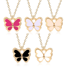 Fashion Kawaii Cartoon Multicolor Butterfly Necklace Charm Clavicle Chain Drop Oil Alloy Jewelry Gold Pendant