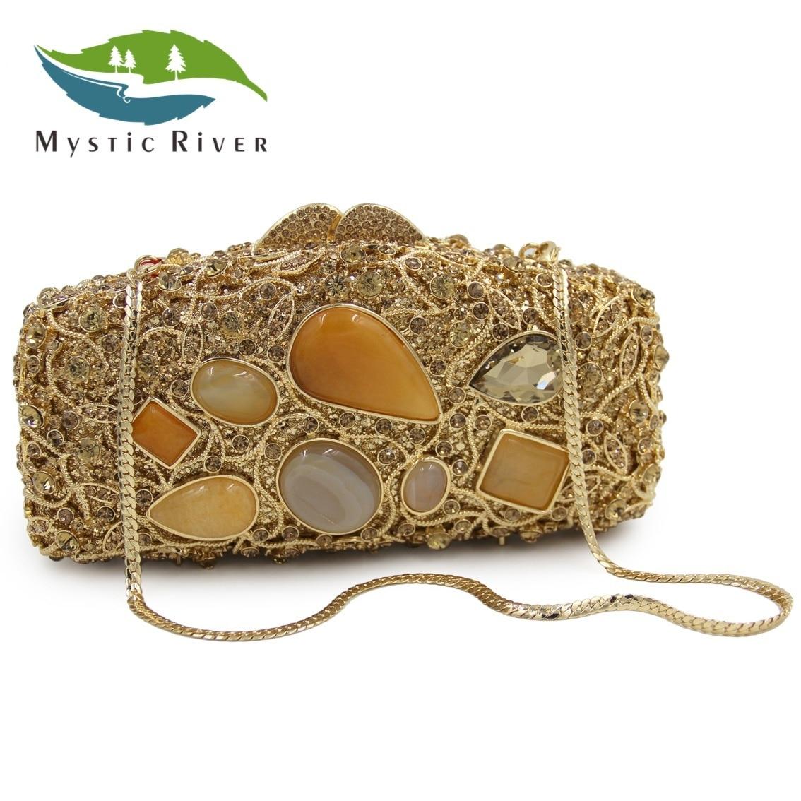 Mystic River Mujeres Diseñador Caja de Cristal de Ágata de Noche Bolsos de Fiest