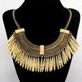 2016 de La Moda Collar De Gargantilla Vintage Collar Colgante Borla de Oro Étnico Bohemio Maxi Collar de la Mujer joyería De Lujo Retro