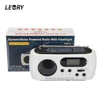 LEORY Solaire D'urgence Manivelle Numérique LED Lampe De Poche Radio AM FM NOAA Avec Téléphone De Charge Pour Ourdoor D'urgence Puissance