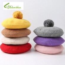 Весенне-осенняя Повседневная Классическая Детская шапка, одноцветная винтажная восьмиугольная береты, круглая мягкая удобная шерстяная шапка для девочек