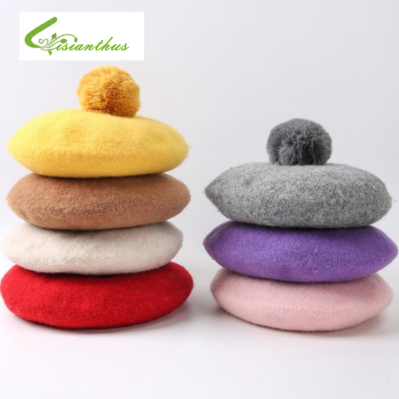 Spring Autumn Casual Classic Children Hat Solid Color Vintage Octagonal Berets Cap Round Soft Comfortable Woolen Hat For Girls