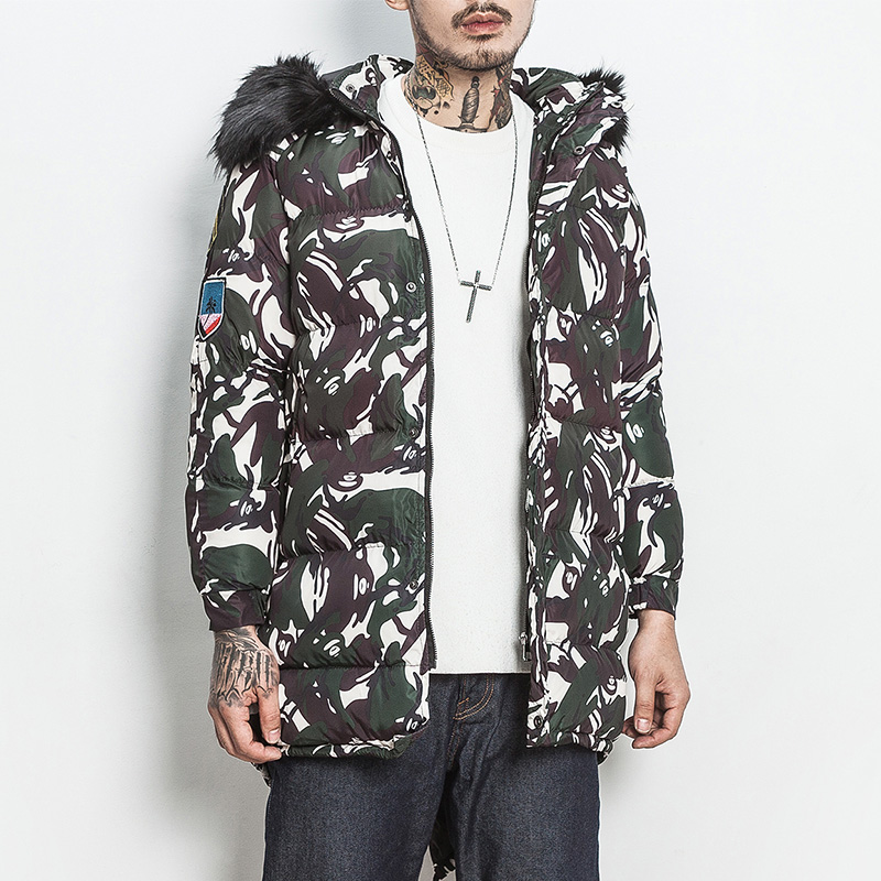 2017 Fashion Winter Jacket Men Parka Hooded Long Jackets Men Winter Coat Camouflage Fur Collar Plus Size M-5XL Wadded Coat winter jacket men 2016 brand parka plus size men s hooded parka zipper quilted coat casual jackets