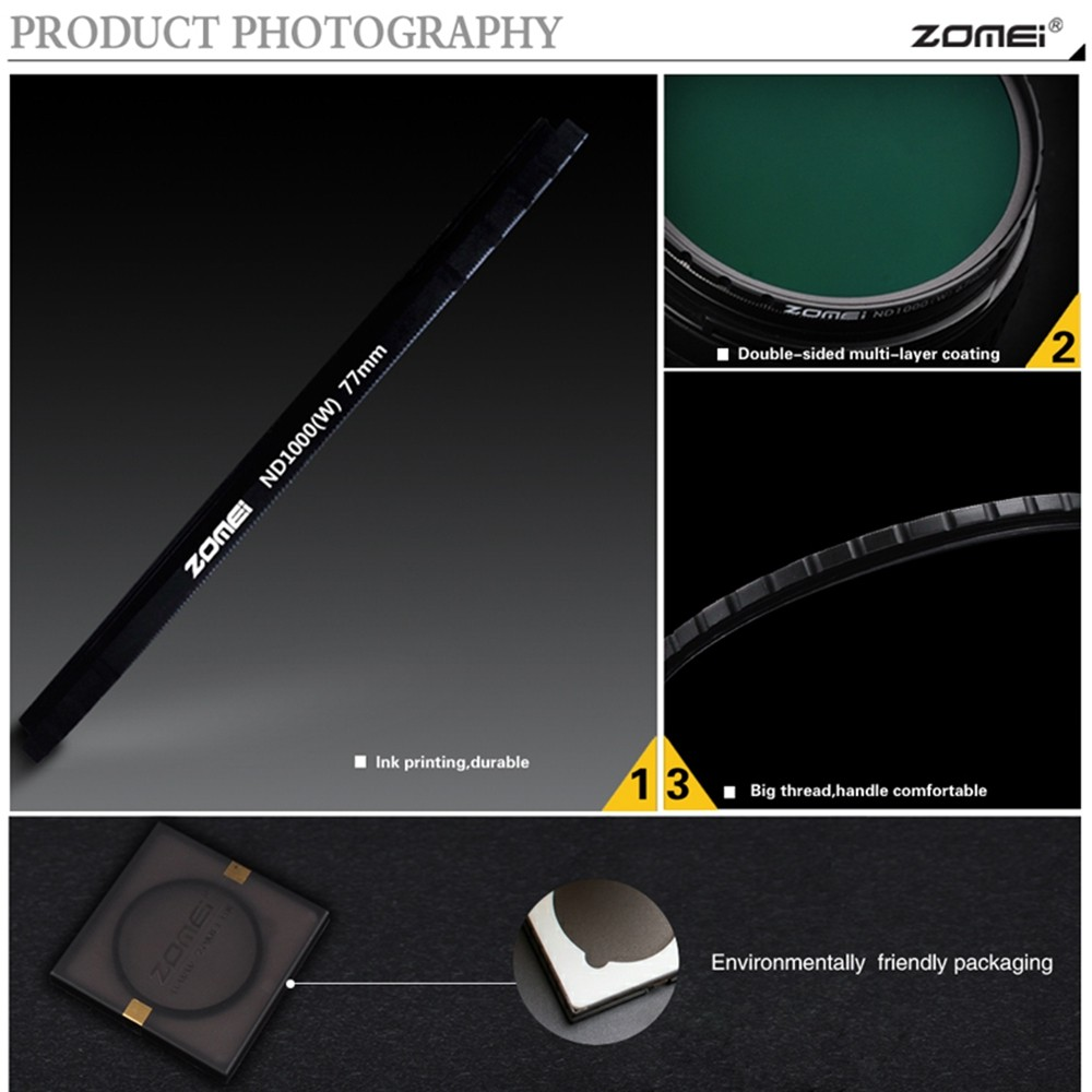 Image 4 - ZOMEI Optical Glass 10 STOP 52/58/67/72/77/82MM Ultra Slim HD  Multi coated Neutral Density ND1000 filter for SLR DSLR camerand1000  filterfilter for canonneutral density