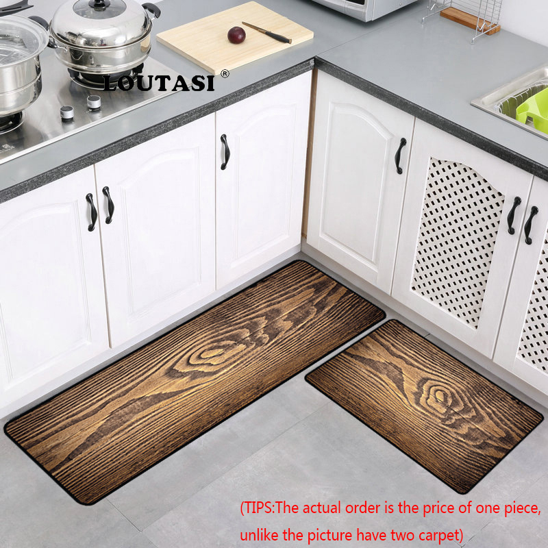 LOUTASI Wood Grain Anti-slip Kitchen Mat Long Bath Carpet Modern Entrance Doormat Tapete Absorbent Bedroom Living Room Floor Mat image