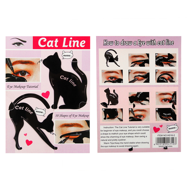 4pcs/lot For 10 Styles Quick Makeup Cat Eyeliner Smokey Eyeshadow Drawing Guide Reusable Stencil for Classic Eye Liner Template