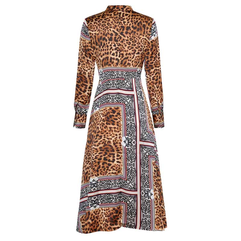 Robe Impression Black Manches Z377 Chic Cou À Sauvage Longues Taille Casual Stand Robes Style Bandage Femmes Léopard Haute 45ALRjq3