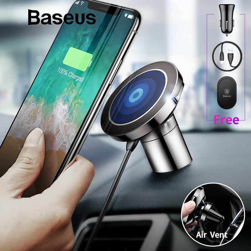 Baseus Qi Car Wireless Charger Magnetic Phone Holder For iPhone SamsungS10 Wireless Charging Car Mount Mobile Phone Holder StandBaseus Qi Car Wireless Charger Magnetic Phone Holder For iPhone SamsungS10 Wireless Charging Car Mount Mobile Phone Holder Stand