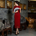 Retro fashion slim chinese style daily improved cheongsam oriental traditional dress red long qipao women lace antique dresses