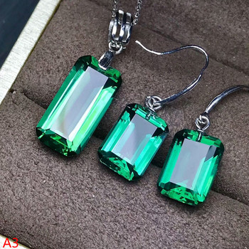 KJJEAXCMY Boutique jewels 925 pure silver inlaid with green crystal and 2 pieces of silver