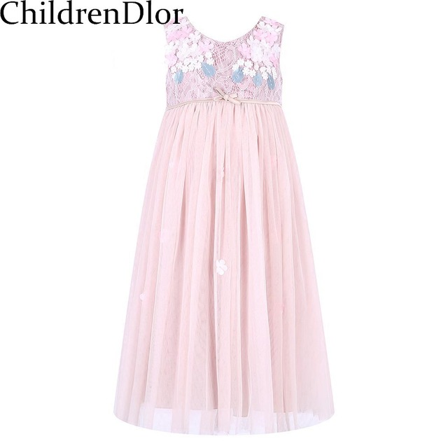 Princess Dress Robe Fille 2017 Brand Girls Summer Lace Dress with Bow Children Costumes Kids Party Dresses for Girls Clothes