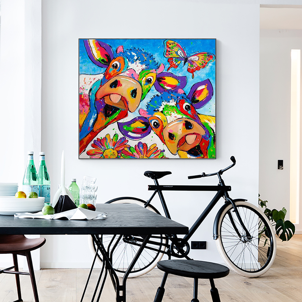 Cuadros Decoracion Vrolijk Schilderij Wall Pop Art On Canvas Painting Animal Picture Posters And Prints Cow Painting Home Decor