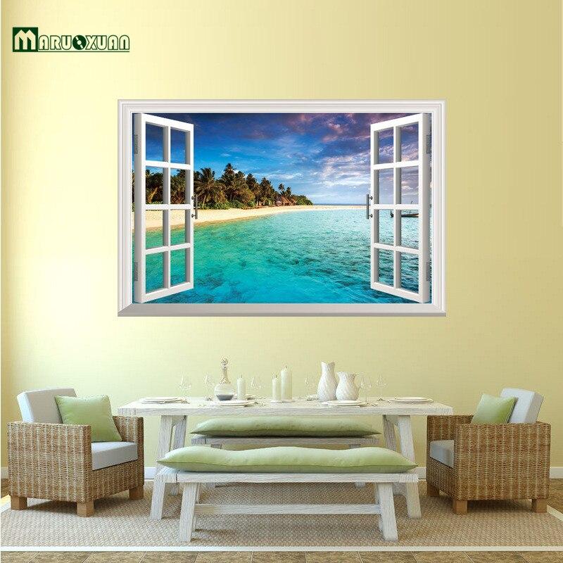 Pemandangan alam 3d jendela decal dekorasi rumah laut mediterania dinding wallpaper removable wall art sticker