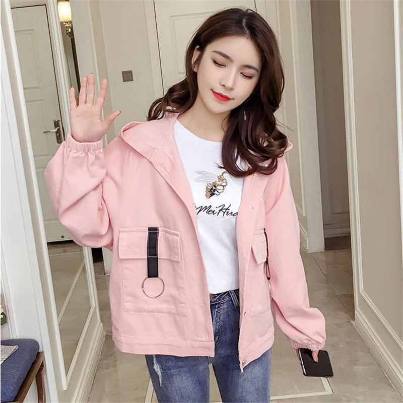 2019 new Women Windbreaker   Jacket   Female solid Patchwork Hooded   Jacket     Basic     Jackets   5 Colors Block Coats For Women C125