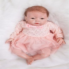 20 inch 50 cm Silicone baby reborn dolls, lifelike doll reborn Beautiful fashion princess dress lovely doll birthday gift