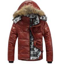 Männer Motorrad Warme Leder Winter Jacke Reale Natürliche Fell Kapuze Verdickung Unten Baumwolle Jacken Herren Langarm Mantel Parkas