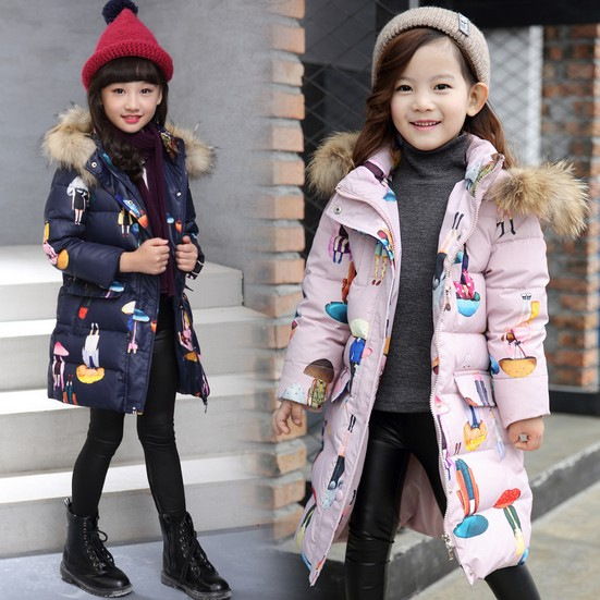 Children's Down Jacket Big Fur Collar Long Thick Teen girls Winter Coat Duck Down Kids Winter coats 5-12 years old 2017 men down jacket winter warm collar fur trim hood coat outwear puffer down cotton long jacket clothes thick canada cheap top