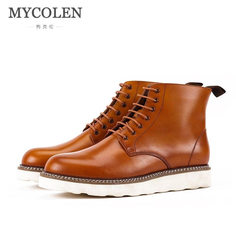 MYCOLEN Autumn Winter Boots Men Basic Platform Ankle Boots Luxury Product Leather Men'S Shoes Casual Lace Up Male Shoes Adult