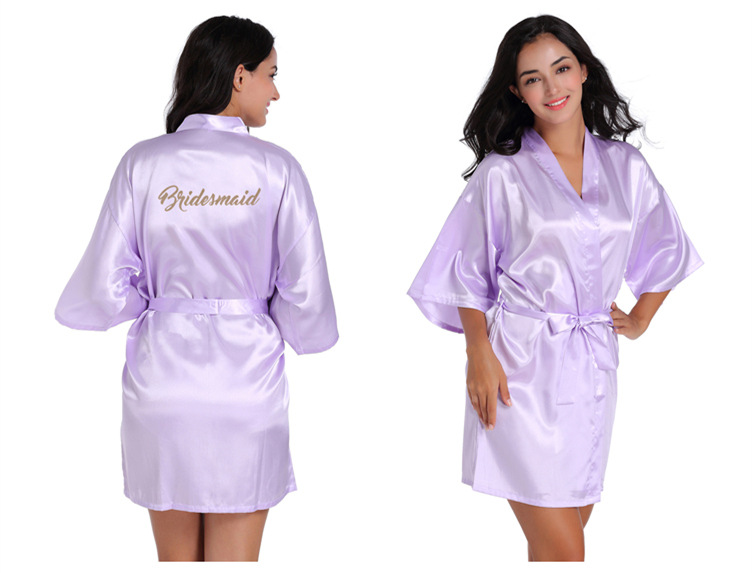 Silk Bride Of Mother Robe With Gold Letter Sexy Women Short Satin Wedding Kimono Sleepwear Get Ready Robe