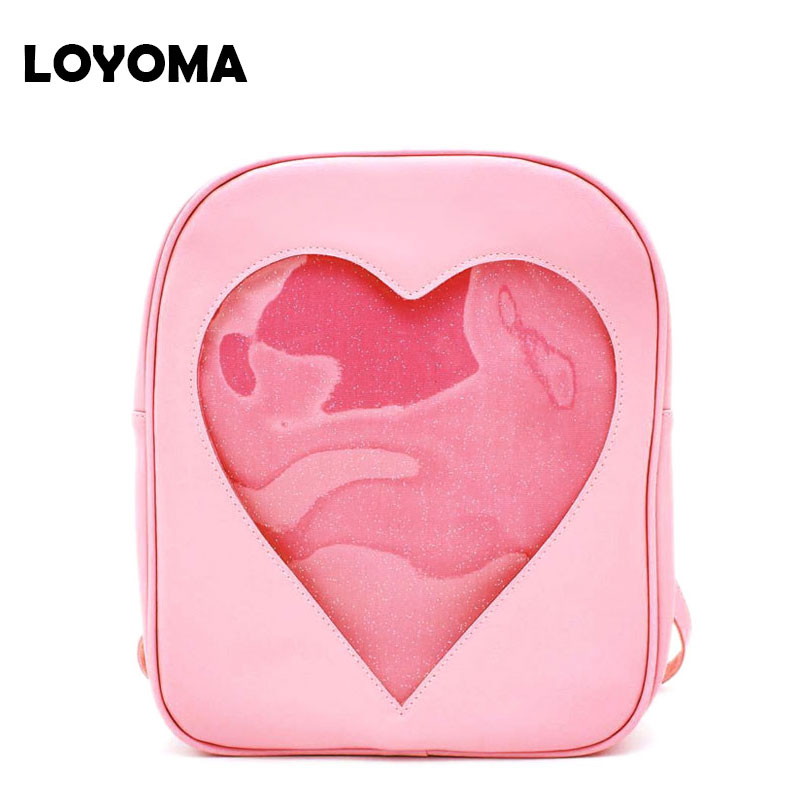 2017 Summer Candy Transparent Love Heart Women Backpacks Fashion School Bagpack Beach Shoulder Bags For Teenager Girls Book Bag new brand designer women fashion backpacks simple koran style school for teenager girls ladies shoulder bags black
