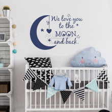 We Love You To The Moon And Back Quotes Wall Sticker Baby Nursery Decal Removable Children Room Quote Vinyl Decor Q321