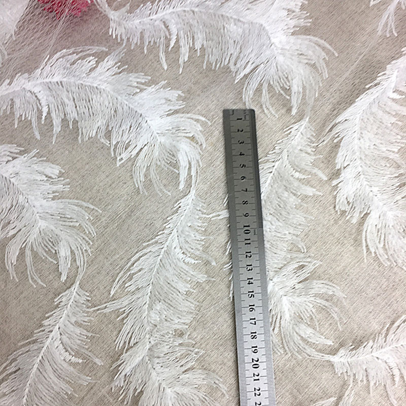 1Yard Embroidered Lace Trim Feather Lace Fabric Voile Cloth Accessories DIY Crafts For Wedding Dress Free Shipping in Lace from Home Garden