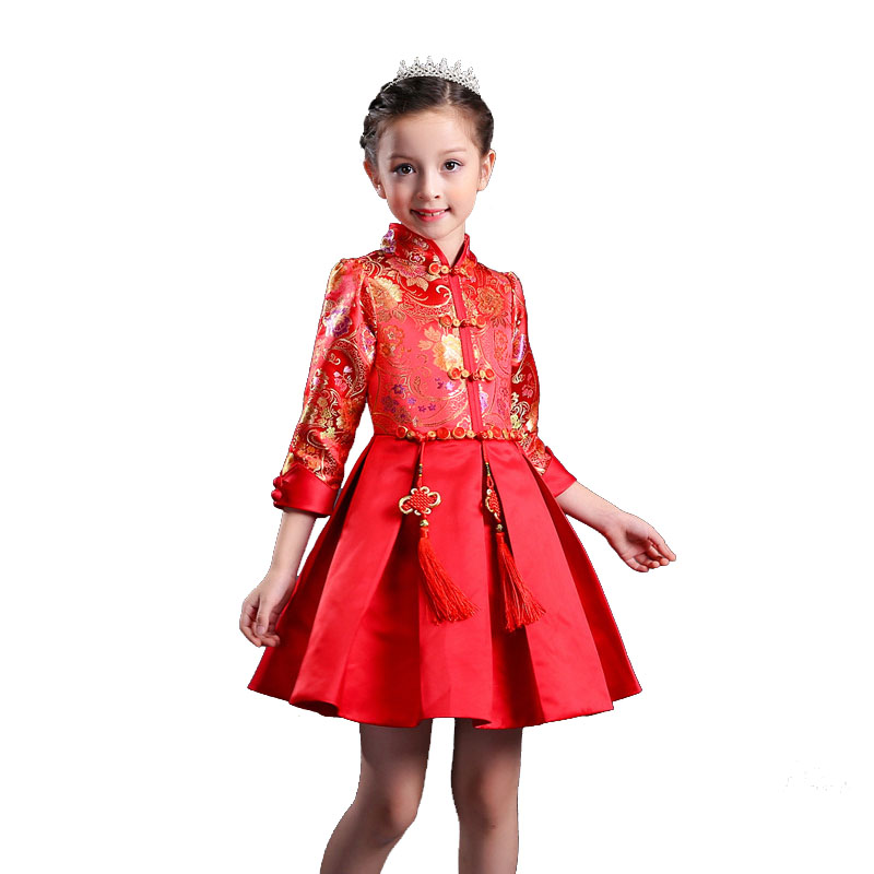 Girl Birthday Children Tutu Dress Long Sleeved Princess a-line Dress Girls Chinese New Year dress costume toddler girl 9 10 Year summer gorgeous embroidered children ancient chinese costume baby boy girl new year birthday joyous red performing clothes set