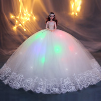 Luxury 3D real eye doll Lighting effect wedding dress princess girl toys gift doll decoration gift for 30cm doll