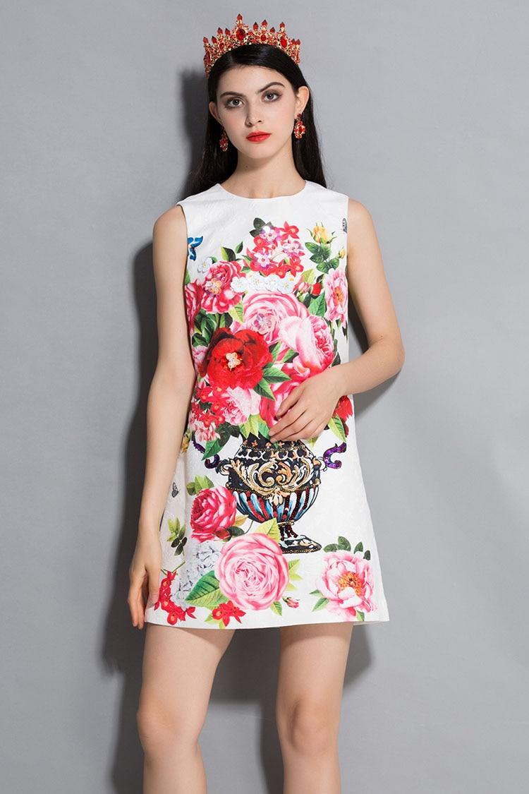 Mode La Sans Imprimé Femmes Réservoir Nouveau Broderie Années Robe Partie Manches Perles Fleur Robes Piste D'été Arrivé Pour 2018 Tqn05A