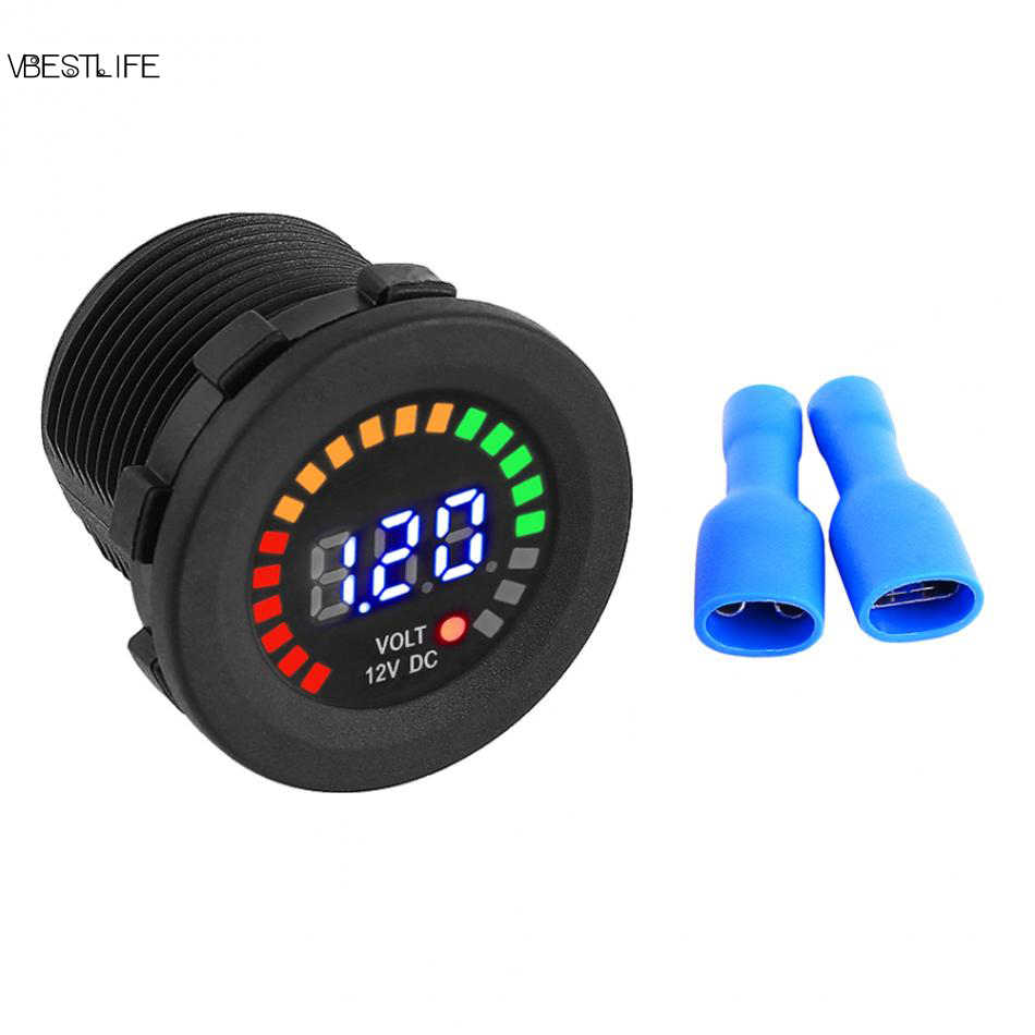 DC 12 V Motorcycle Car LED Digital Display Voltmeter Waterproof Volt Meter Voltage Gauge Voltage Tester Meter New