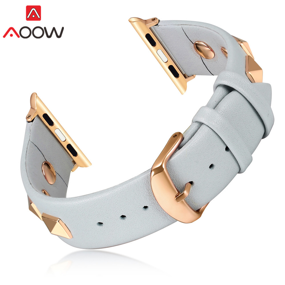 Genuine Leather Watchband for Apple Watch 38mm 40mm 42mm 44mm Fashion Rivet Deco Strap for iwatch 12 3 4 Men Women Bracelet BandGenuine Leather Watchband for Apple Watch 38mm 40mm 42mm 44mm Fashion Rivet Deco Strap for iwatch 12 3 4 Men Women Bracelet Band