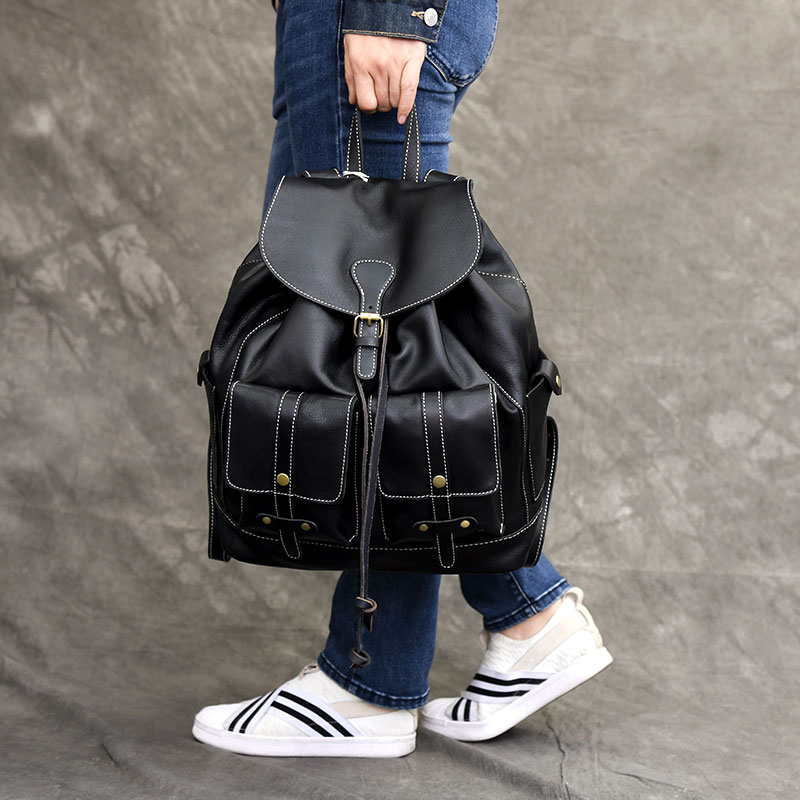 Women many pockets Leather Backpack Vintage Backpacks for Teenage Girls Fashion Large School Bags Real Leather Black Bag mochila fashion gold leather backpack women black vintage large bag for female teenage girls school bag solid backpacks mochila xa56h