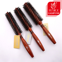 Roll Round Hair Brush Bristle Pig Mane Comb Wood Handle Brown Bristles For Curly Hair Round