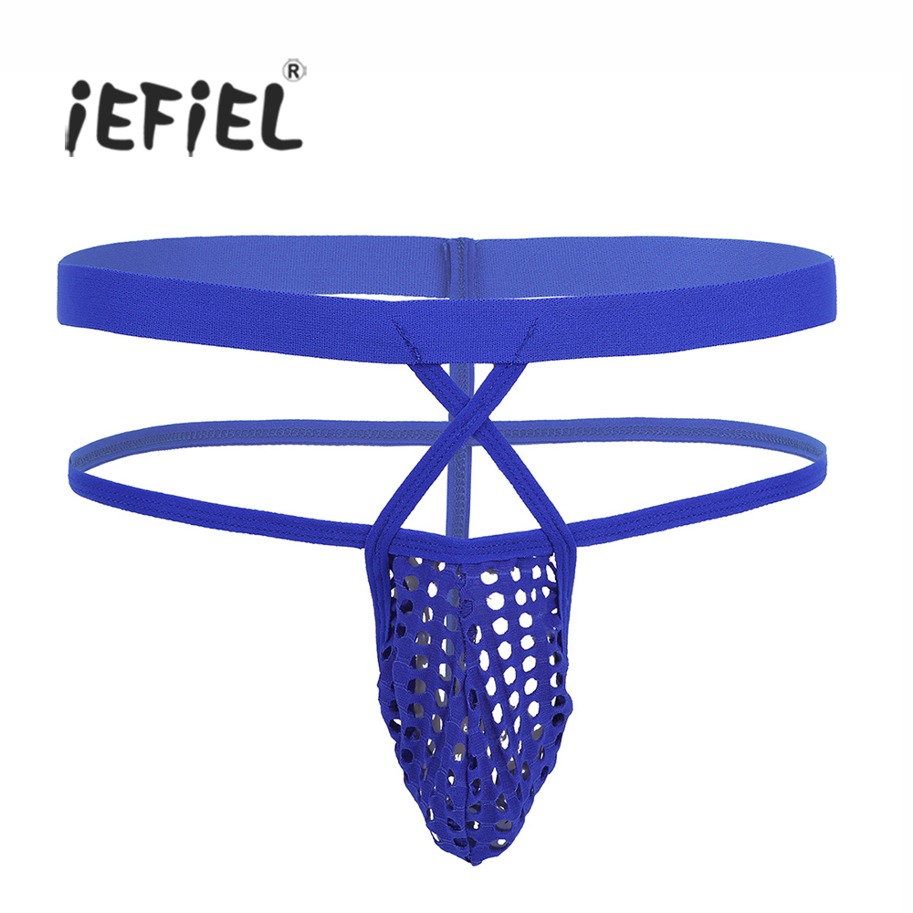 iEFiEL Mens Lingerie Hollow-out Bluge Pouch Open Butt Strappy G-string Bikini Underwear  ...