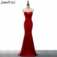JaneVini Dark Red Mermaid Morher of Groom Bride Dresses 2018 Long Illusion Wedding Dresses Mother Satin Evening Prom Party Gowns