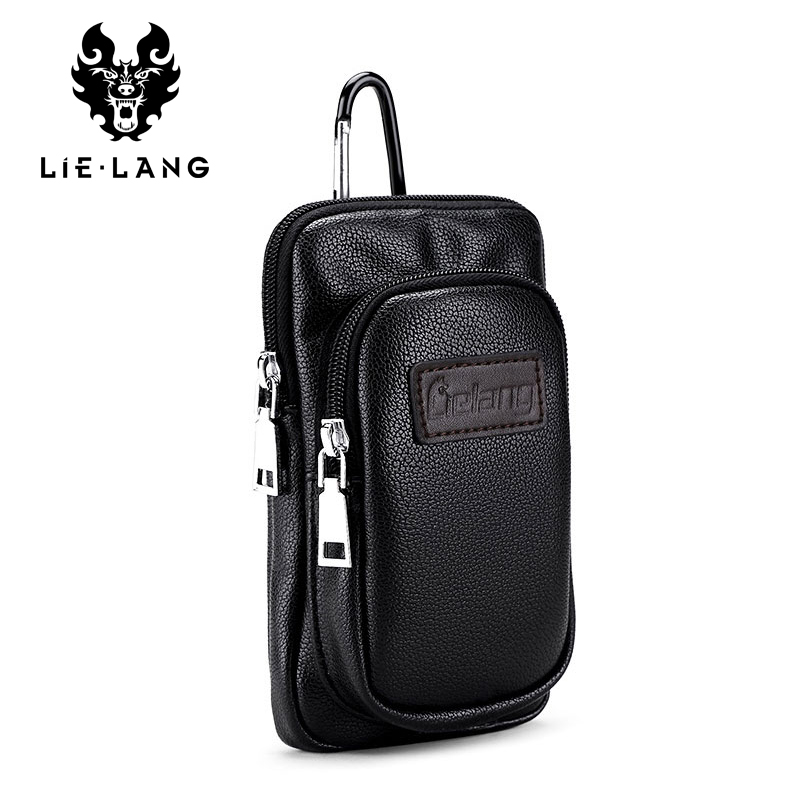 LIELANG Brand Waist Packs Leather Fashion Waist Mobile Phone Bags Fanny Pack Cigarette Pure Hanging Bag High Quality Men Bags