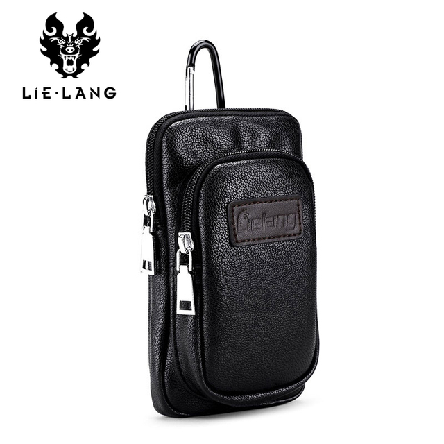 Lielang Brand Waist Packs Leather Fashion Mobile Phone Bags Pack Cigarette Pure Hanging Bag