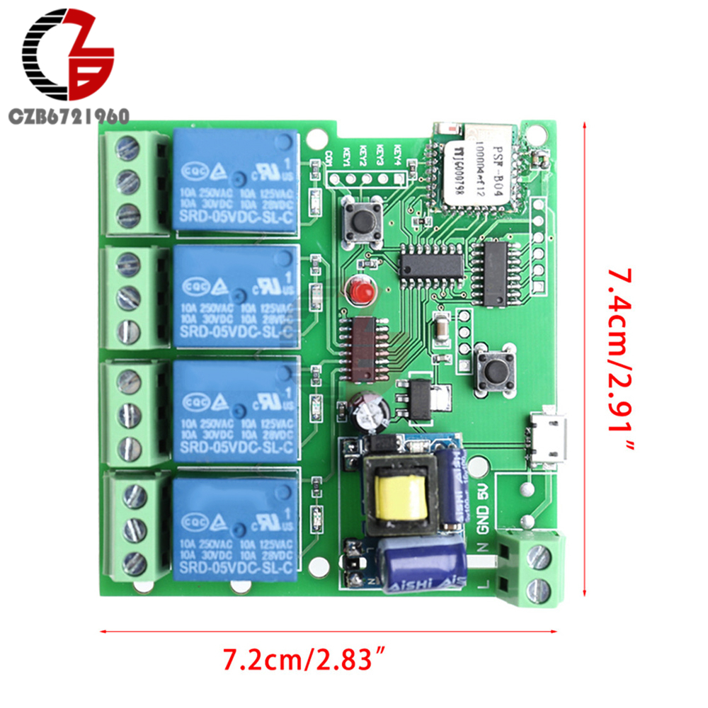Cut Price Ac 220v 4 Channel Wireless Wifi Relay Delay Switch Way Controls Control For Smart Home