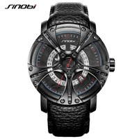 SINOBI Men Watch S Shock Military Watch For Man Eagle Claw Leather Strap Sport Quartz Watches