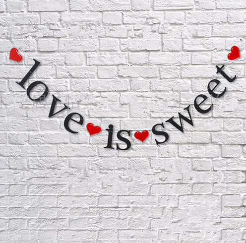 wedding banner love is sweet letters hearts propose garland buntings marriage room home decoration photography supplies