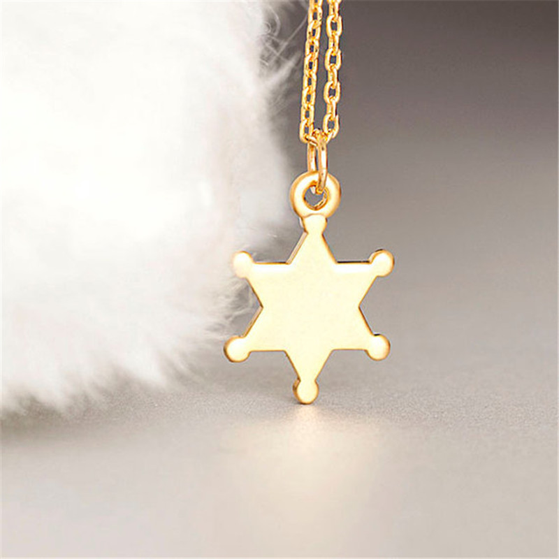Gold silver tiny sheriff badge necklace police star charm collier gold silver tiny sheriff badge necklace police star charm collier whimsical jewelry necklace 30pcs in pendant necklaces from jewelry accessories on aloadofball Image collections