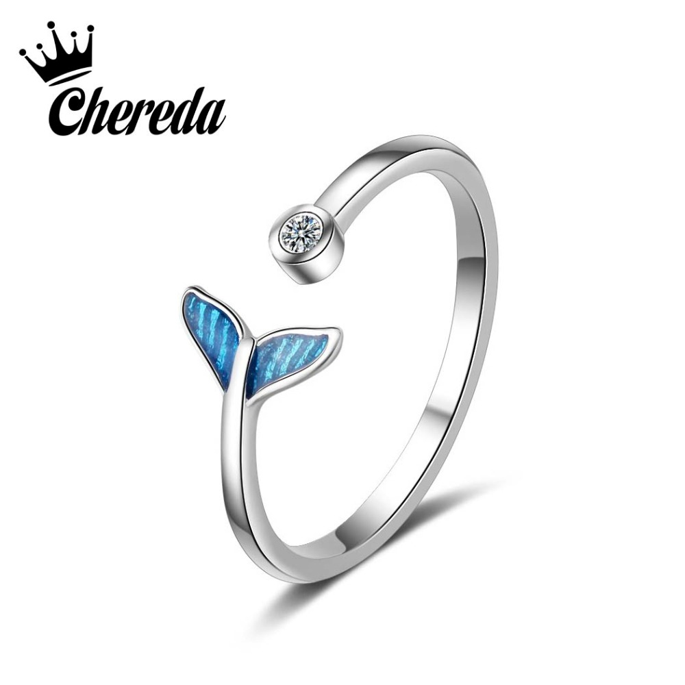 Chereda Silver Cute Tail Shape Rings Women Girl Office Jewelry Student Classroom Fashion Ring Saint Valentin Best Gift Anneau