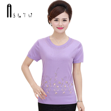 ASLTW Summer T Shirt Women 2017 New Women's Short Sleeve O Neck Knitting Top Female Embroidery Floral Tshirts