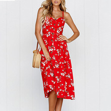 Summer Dress Red Plus Size High Quality Women Casual Clothes Floral Print Robe Ete 2019 Femme Vestid De Marca Verano Ropa Mujer