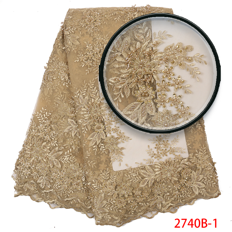 Luxury Lace Fabric Embroidery Bridal Lace Fabric Heavy Handmade Beads Lace High Quality French Tulle Mesh Lace Fabrics APW2740B