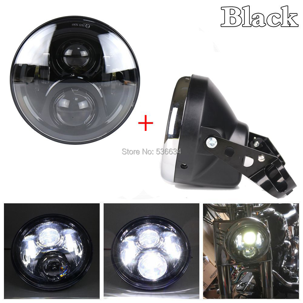 Black 7 inch Projector Daymaker led headlight with Headlamp Shell or Lamp Shell for Harley Davidson Heritage Softail chrome custom motorcycle skeleton mirrors for harley davidson softail heritage classic