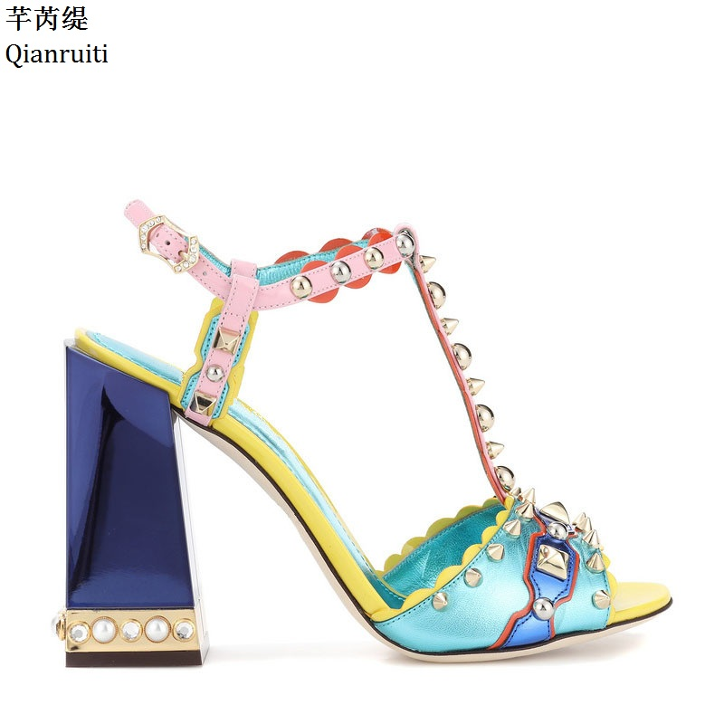 Qianruiti Mixed Colors Block Heels Women Sandals Rome Style Ankle Strap Women Pumps Peep Toe Studded Rivets High Heels Shoes qianruiti orange yellow clear pvc stiletto heels women sandals ankle buckle strap women pumps peep toe cut outs high heels shoes