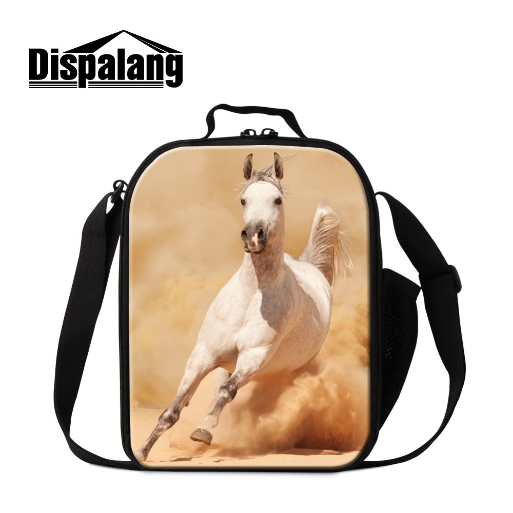 Horse Lunch Bags for Children Animal Printed Insulated Lunch Container for Kids Boys Lunch Cooler Bags for School Girls Meal Bag