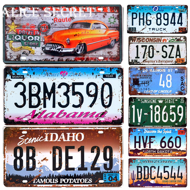 USA Car License Metal Plate American Car Number Tin Signs Bar Pub Cafe Decor Metal Sign Garage Painting Art Plaque Poster